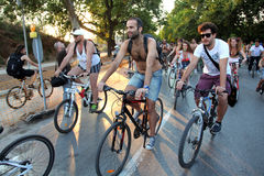 Naked bicycle race in Thessaloniki - Greece. THESSALONIKI, GREECE - JUN 7: Naked bicyclists throng the start of the annual parade on Jun 7, 2013 in Thessaloniki Royalty Free Stock Image