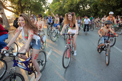 Naked bicycle race in Thessaloniki - Greece. THESSALONIKI, GREECE - JUN 7: Naked bicyclists throng the start of the annual parade on Jun 7, 2013 in Thessaloniki Royalty Free Stock Photography