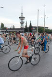 Naked bike ride in Thessaloniki - Greece. THESSALONIKI, GREECE - JUNE 1: Protesters some naked with their body painted during a bicycle protest on June 1, 2012 stock photography