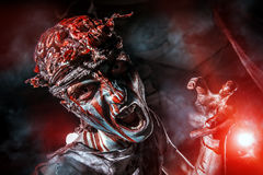 Naked brains. Bloody zombie man with brains out. Horror. Halloween Stock Image