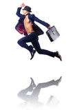 Naked businessman jumping Royalty Free Stock Photography