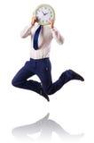 Naked businessman jumping Stock Photos