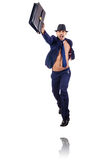 Naked businessman jumping Stock Image