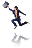 Naked businessman jumping Stock Photography