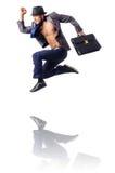 Naked businessman jumping Royalty Free Stock Photos