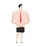 Naked businessman. Man in tie and shoes. Bankrupt buries case. F Royalty Free Stock Photos