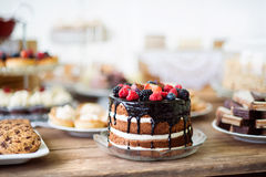 Naked cake with chocolate and berries, cookies and tarts Royalty Free Stock Photo