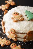 Naked cake is decorated with gingerbread and coconut close-up. v Royalty Free Stock Photography