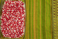 Naked cake with pomegranates Stock Photos