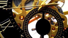 Naked clockwork close-up, ticking arrows. Full HD stock video