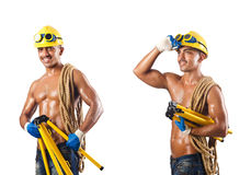 The naked construction worker on white Stock Image