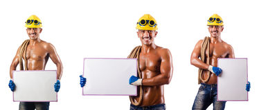 The naked construction worker on white Stock Photography