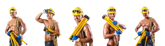 The naked construction worker on white Stock Photos