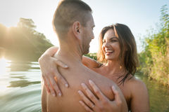 Naked couple embracing in love Royalty Free Stock Photo