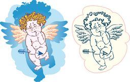 Naked cupid with an arrow Royalty Free Stock Photos