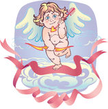 Naked cupid with an arrow Stock Image