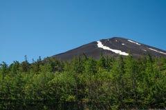Naked Dark Fuji mountain in summer. royalty free stock photography