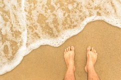 Naked feet at the Beach - Barefeet nature Background Stock Images