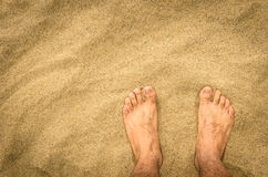 Naked Feet in the Desert Stock Images