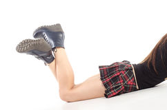 Naked female legs in boots Royalty Free Stock Photography
