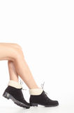 Naked female legs in boots Royalty Free Stock Photos