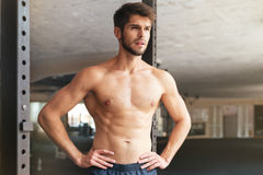 Naked fitness man. In gym Royalty Free Stock Photo