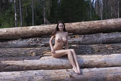 Naked girl with big tits Stock Image