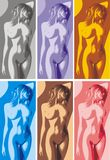 Naked girl in different colors Stock Photos