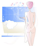A naked girl after shower. A naked girl in a turban of the towel sitting on the background of Stock Image