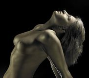 Naked golden bodypainted woman Royalty Free Stock Photos