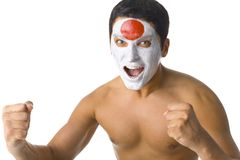 Naked Japanese sport's fan Royalty Free Stock Photo