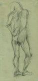 Naked man 2 - sketch Royalty Free Stock Photo
