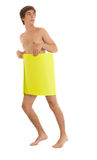 Naked man covering oneself yellow card Stock Images