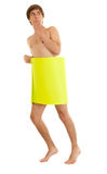 Naked man covering oneself yellow card Royalty Free Stock Photos