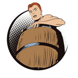 Naked man inside a barrel. Ruin and debts. Stock Images