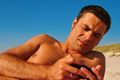 Naked Man With Phone Stock Image