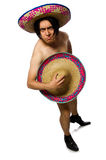 The naked mexican man isolated on white Stock Images