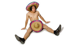 The naked mexican man isolated on white Royalty Free Stock Photos