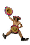 The naked mexican man isolated on white Stock Photos