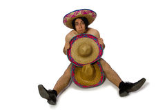 The naked mexican man isolated on white Royalty Free Stock Image