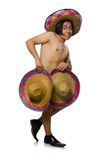 The naked mexican man isolated on white Royalty Free Stock Photography