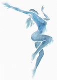 Naked Modern Dancer Blue Watercolor on White Royalty Free Stock Images