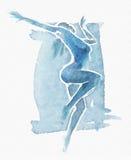 Naked Modern Dancer Watercolor Blue Stock Photos