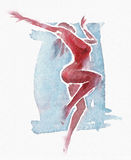 Naked Modern Dancer Watercolor Red-Blue Stock Photo