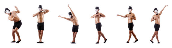 The naked muscular mime isolated on white Stock Photography