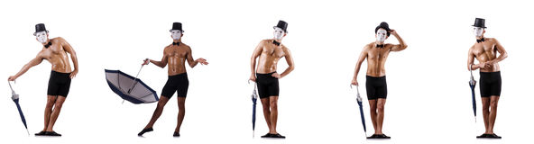 The naked muscular mime isolated on white Royalty Free Stock Photo