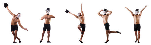 The naked muscular mime  on white Royalty Free Stock Photo