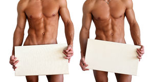 Naked Muscular Torso Covering Copy Space Box Stock Image