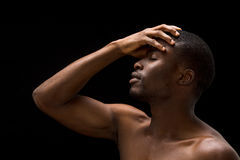 Naked passionate Afro-American man Stock Photo