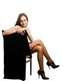 Naked pretty girl in black pantyhose Stock Photos